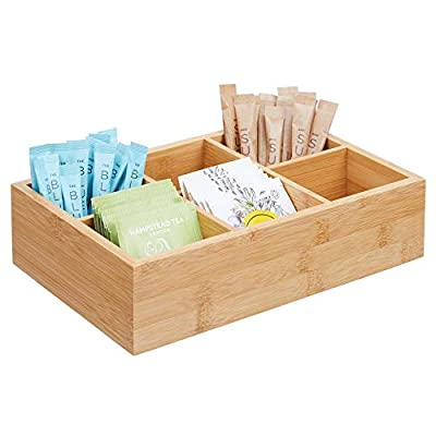 mDesign Bamboo Wood Compact Tea & Food Storage Organizer Bin Box - 6 Divided Sections - Holder for Tea Bags, Coffee, Packets, Sugar/Sweeteners and Small Packets - Natural