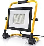 Brandson – NUOVO Proiettore da cantiere LED da 100 Watt – Grande 40 x 40 cm – Faro da costruzione esterno – 140 LED SMD - 9500 lumen - cavo di 4 m – Solido, stabile, affidabile, duraturo - IP65