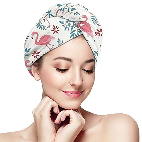 Toalla de secado de pelo para mujer, turbante con botón, flamenco, ramas tropicales, suave, absorbente, de microfibra, para cabello largo y rizado