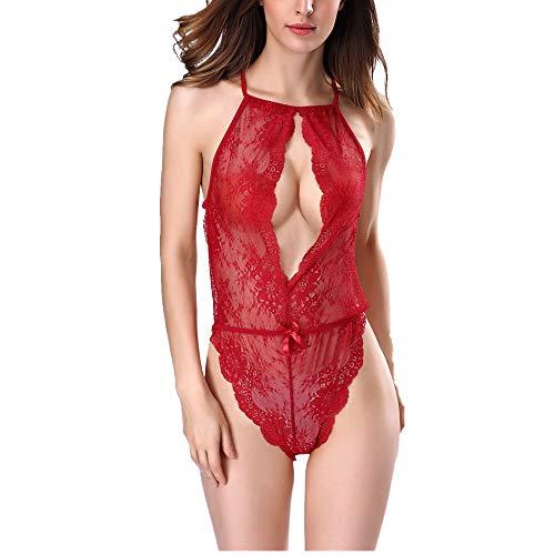Damen Sexy Dessous Rückenfrei Spitze Bodysuit Body Bodysuit Reizwäsche Spitze...