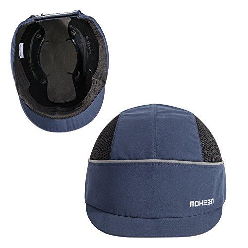 Anstoßkappe mit reflektierenden Streifen, leichtem und atmungsaktivem Arbeitskappe Schutzkappe (Blau Micro-Krempe)