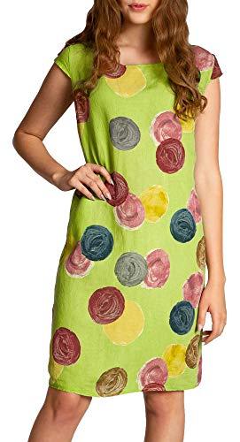 Caspar SKL033 leichtes knielanges Damen Sommer Leinenkleid mit Punkte Print, Farbe:grün, Größe:XL - DE42 UK14 IT46 ES44 US12