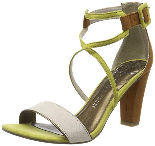 Sandalia amarilla de tacón con pulsera para mujer