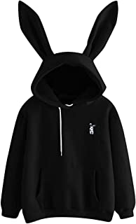 Sdsdfeu Funny Cute Rabbit Ear Hooded Tops Pullover for Women Casual Fashion Sweatshirt with Pockets Drawstring Hoodie
