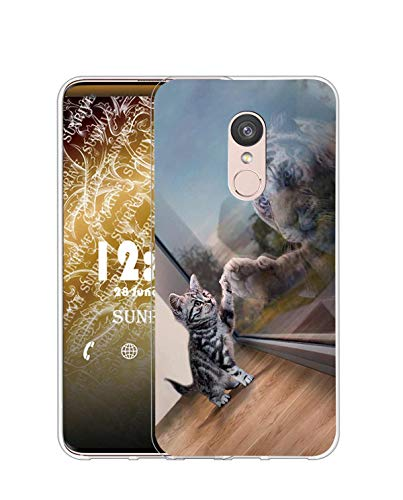 Sunrive Funda Compatible con ZTE Axon 7 Mini, Silicona Slim Fit Gel Transparente Carcasa Case Bumper de Impactos y Anti-Arañazos Espalda Cover(Q Gato 3)