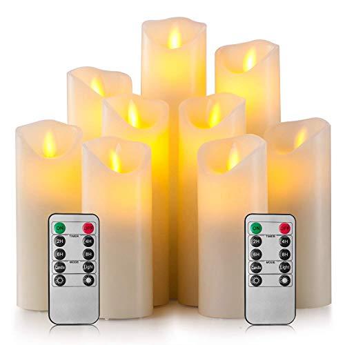 Gesh Velas sin llama, funciona con pilas, 10 cm, 15 cm, 17 cm, 20 cm, 20 cm, juego de 9 velas LED de cera real con mando a distancia de 10 teclas y temporizador de 24 horas