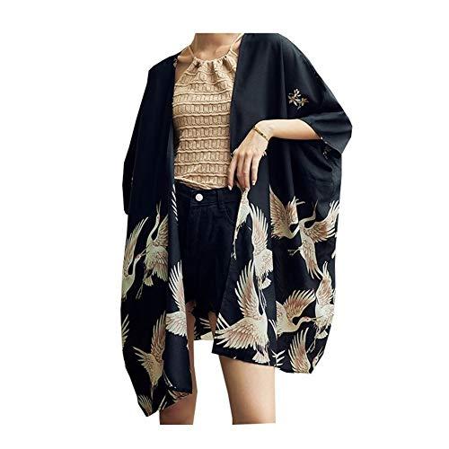 ZTXCM Cultura Japonesa Mujer de Kimono japonés Yukata Mujeres Japón grúa de impresión de la Camisa del Kimono Cardigan Asia Protección Solar Unisex Haori Kimonos Top (Color : 1, Size : One Size)