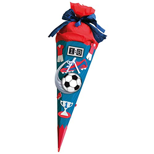 ROTH Schultüten-Bastelset Soccer rot 68cm 6-eckig Rot(h)-Spitze Kreppverschluss