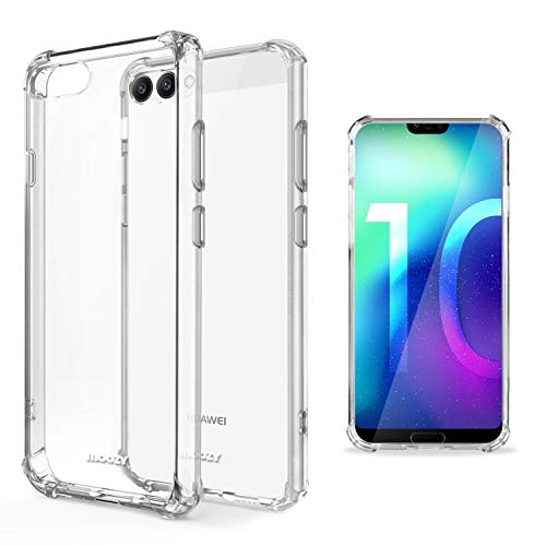 Moozy Transparent Silikon Hülle für Huawei Honor 10 - Stoßfest Klar TPU Case Handyhülle Schutzhülle