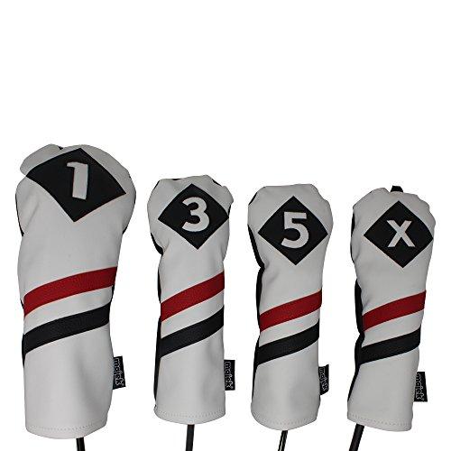 Majek Retro Golf Schlägerkopfhüllen weiß rot und schwarz Vintage Leder Style 135x Driver Fairway und Hybrid Head Covers Passt 460cc Driver Classic Look