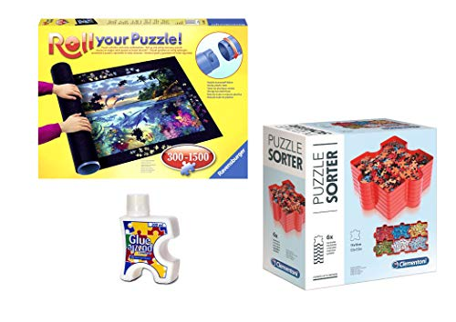 Outletdelocio.. Pack Puzzle Roll 1500 Ravensburger. Tapete Universal para Transportar/Guardar Puzzles + Pegamento + bandejas portapiezas