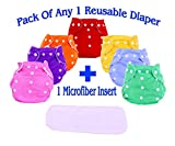 THE LITTLE LOOKERS Premium Quality Adjustable & Reusable Baby Washable Cloth Diaper Nappies with Wet-Free Inserts for Babies/Infants/Toddlers  Age 0 to 2 Years Pack of 1 (Random Color)