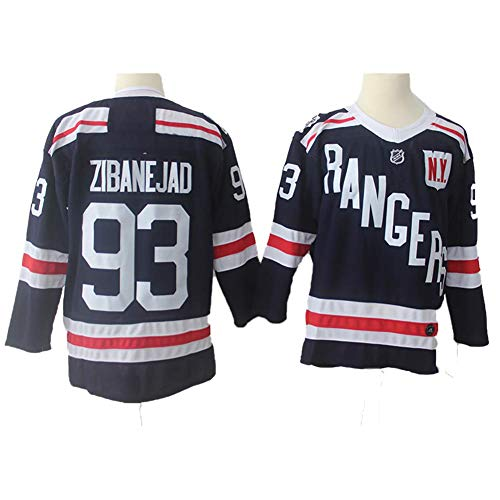 Yajun Mika Zibanejad#93 New York Rangers Eishockey Trikots Jersey NHL Herren Sweatshirts Atmungsaktiv T-Shirt Bekleidung,2XL