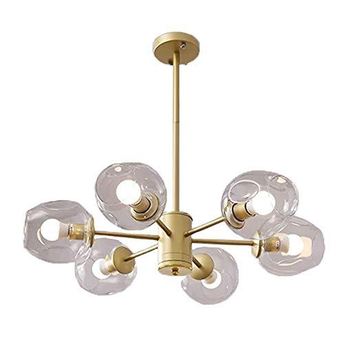 CAIMEI Sputnik Chandelier E27 Lámpara Colgante Pantalla de Bola de Vidrio Transparente Lámpara de Luz Colgante Lámpara de Techo Luz de Isla Candelabros de Hierro Forjado E 6 Luces, E,a