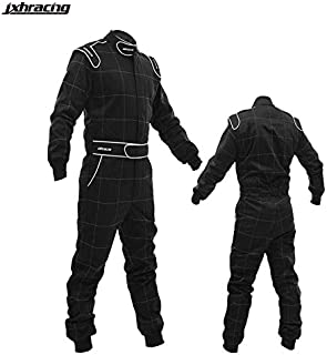 jxhracing S1001 SFI One Layer One Piece Auto Go Kart Racing Suit (Large, Black)