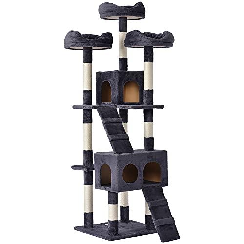 Merax Tiragraffi per gatti con appartamenti, 175 cm, in peluche, per gatti di grandi dimensioni, colore grigio scuro