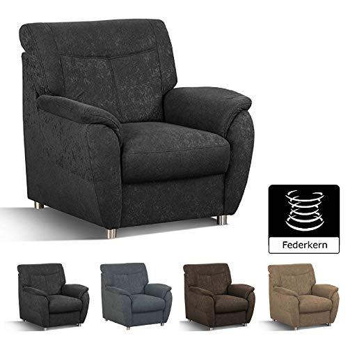 Cavadore Sessel Sunuma / Schwarzer Polstersessel mit Federkern passend zum Sofa Sunuma / Modernes Design / Größe: 95 x 91 x 90 cm (BxHxT) / Farbe:...