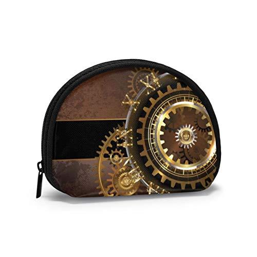 Antike Steampunk Uhren Gold und Messing Zahnräder auf braun rostigen Hintergrund Frauen Mädchen Shell Kosmetik Make-up Aufbewahrungstasche Outdoor-Shopping-Münzen Wallet Organizer