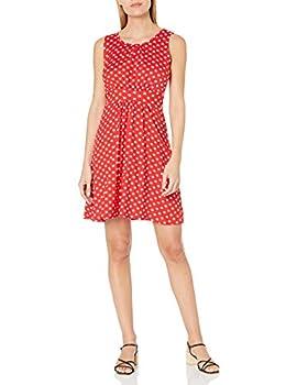 Star Vixen Women s Sleeveless Banded Skater Waist Bodice and Shirred Skirt Short Ity Dress Red/White Dot X-Large