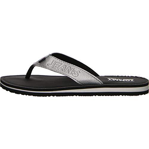 Hilfiger Denim Damen Shiny METALLIC Beach Sandal Zehentrenner, Silber (Silver 000), 38 EU