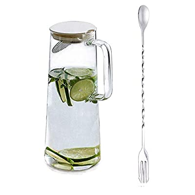 MDZF SWEET HOME 48 Oz Glass Pitcher with Stainless Steel Strainer and Food-Grade Plastic Lid, Water Carafe for Homemade Juice & Iced Tea Hot or Cold Water Jar, White Lid by Mdzf Sweethome