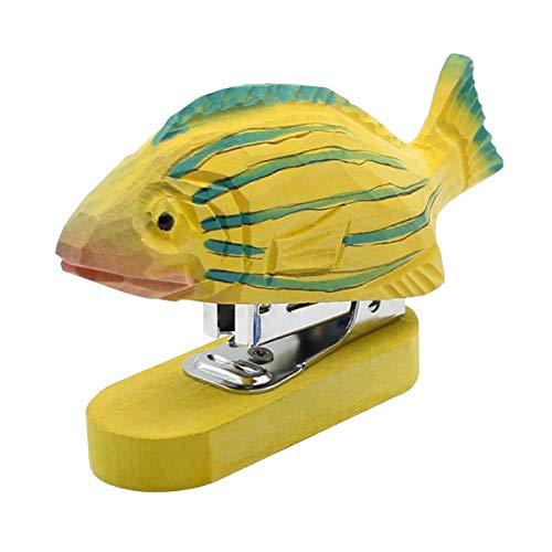 ホッチキス ホチキス Junnom かわいい 創造的な木製の動物のステープラー、小型ホッチキス 、ステープル付き、オフィス 自宅 学校 事務 用品 贈り物 (魚)