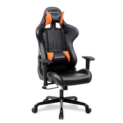 Songmics Racing silla oficina silla – silla Ordenador con reposabrazos Espuma de retroceso Negro d