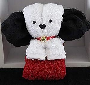 Hund/Handtuch-Tier - weiß auf rot, Handtuchfigur