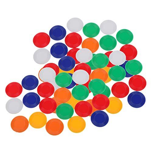 Sharplace 60x Counting Chips Kunststoff 22mm Mischfarben für Poker Mahjong Zubehör