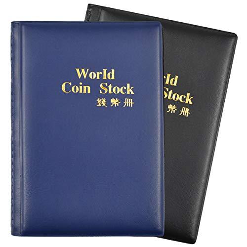 Dokpav Album della Collezione di Monete, Raccoglitore per Collezione di Monete, 2 Pacchi, 240 Tasche(1 Blu Scuro + 1 Nero)