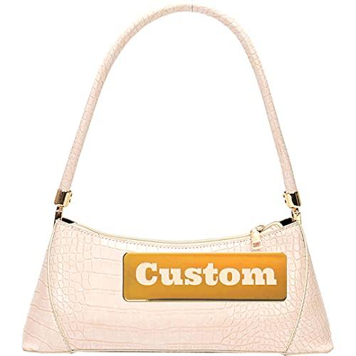Nombre Personalizado Cuerpo Mujer Bolsa de Hombro Cuero y Monedero Muchacha Crossbody Bolsa (Color : White, Size : One Size)