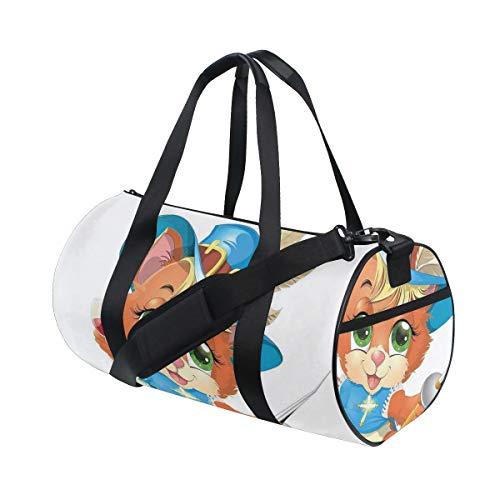 HARXISE Sporttasche Reisetasche,Kätzchen Musketier mit einem Glas Wein Ritter Katze Spaß Cartoon Stil,Schultergurt Handgepäck für Übernachtung Reisen