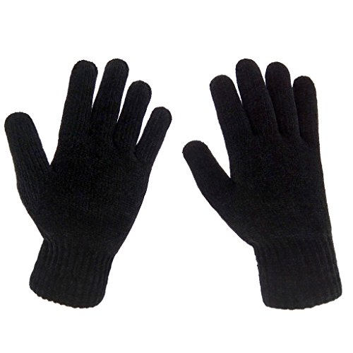 LETHMIK Mens Winter Thick Gloves Black Knit with Warm Wool Lining