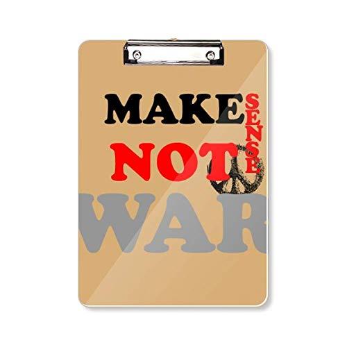Maak gevoel niet oorlog liefde vrede wereld klembord map schrijven pad backing-plaat A4