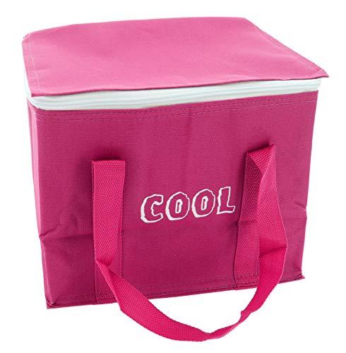 MIK Funshopping 15L Kühltasche mit Kühlakku, Thermotasche Cooler Bag Lunchtasche Picknicktasche isoliert, faltbar, für Lebensmitteltransport (Pink)
