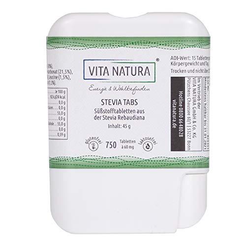 Vita Natura Stevia Tabs, Süßstofftabs im Spender, 1er Pack (1 x 750 Stück 45 g)