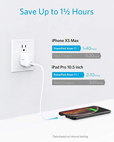 USB C Charger [GaN Tech], Anker 30W Ultra Compact Type-C Wall Charger with Power Delivery, PowerPort Atom PD 1 for iPhone 11/11 Pro/Max/XS/XR, iPad Pro, MacBook 12'', Pixel, Galaxy, and More