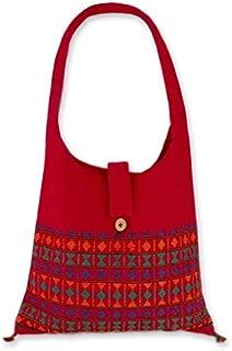 NOVICA Red Cotton Shoulder Bag, Crimson Tease'