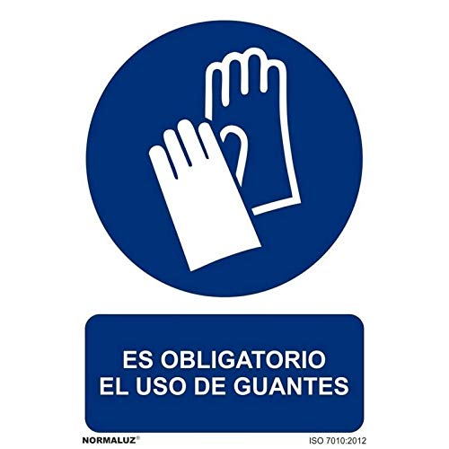 Normaluz RD26603 - Señal Adhesiva Es Obligatorio El Uso de Guantes Adhesivo de Vinilo 10x15...