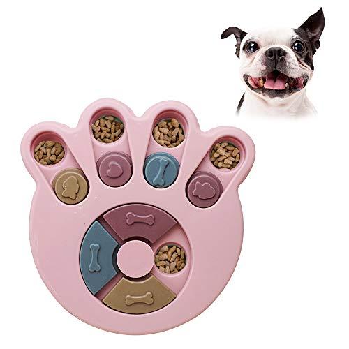 Andiker Rompecabezas Redondo para Perro, Juguete Interactivo Duradero para Perro, Juegos de Cerebro de Perro, Mejora de IQ (Rosa)