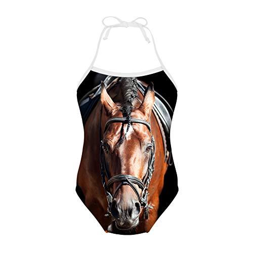Nopersonality Mädchen Einteiler Badeanzug Kinder Bademode Tierdruck 3Y-8Y Gr. 3-4 Jahre, pferd