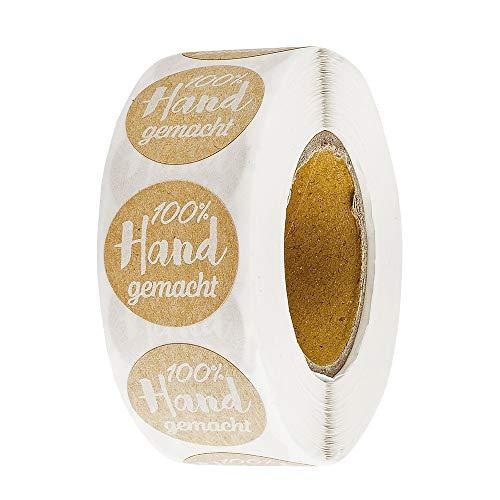 Ideen mit Herz Kraftpapier-Sticker   100% Handgemacht   Ø 2,5cm   Etiketten-Aufkleber auf Rolle   500 Stück   Handmade Aufkleber   ideal für selbstgemachte DIY & Handmade Produkte