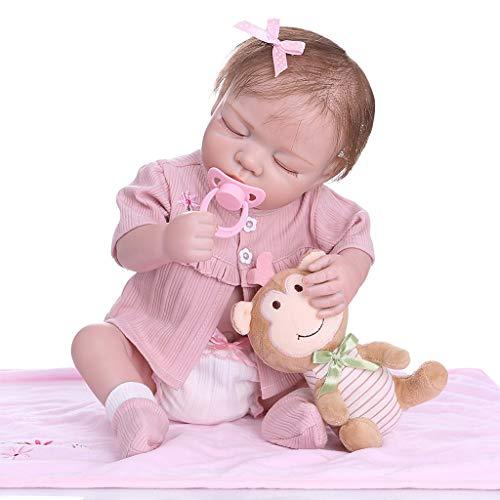 XINGYUE Muñecas realistas, muñecas renacidas de 49 cm realistas de vinilo suave de silicona recién nacidos durmiendo bebés mono juguete ropa realista hecho a mano regalo