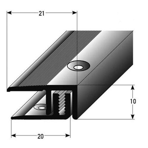 5 x 2,7 Meter Abschlussprofil Laminat/ Parkett, 7-15 mm, Alu. eloxiert, gebohrt, silber