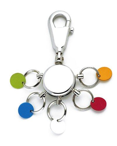 TROIKA PATENT SCHLÜSSELHALTER – KYR61/CH – rund, glänzend – Schlüsselanhänger - Karabinerhaken – 6 ausklinkbare Ringe - farbige Plättchen zur Zuordnung der Schlüssel – TROIKA-Original