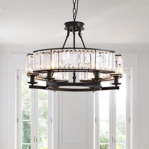 NOXARTE Round Crystal Chandelier Hanging Pendant Ceiling Light Black Fixture for Dining Room Bedroom
