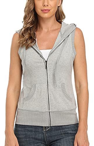 MISS MOLY Ärmellos Sweatjacke Damen Weste Hoodie Shirt mit Reissverschluss Kurzarmjacken Sweatshirt Medium, Hell Grau