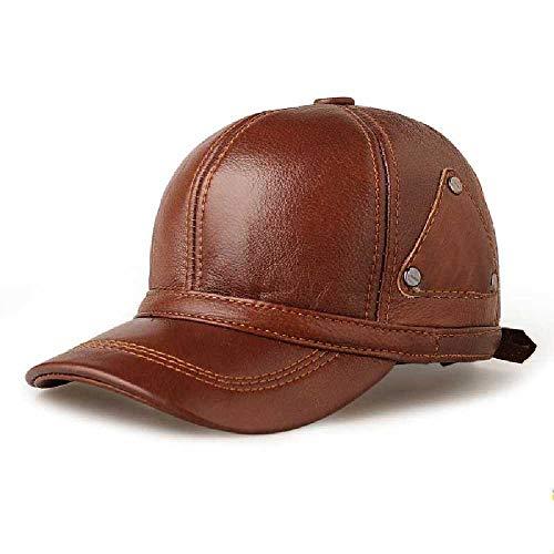 Preisvergleich Produktbild wangtao Herren Echtes Leder Winter Baseball Cap Brown Snapback Cowskin Hochwertige Herren Verstellbare Baseballmütze OneSize / 1