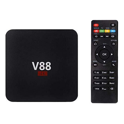 OMKMNOE V88 4K Android 7.1 Smart TV Box, Hohe Leistung RK3229 Quad Core 1 GB + 8 GB 1080P Set-Top-Box Unterstützt 24 Sprachen Praktisch Und Einfach,1