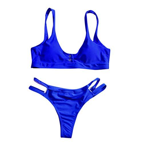 IZHH Bikini High Waist Bandage Bikini Set Bademode Strand Badeanzug Monokini Einfarbiger Bikini Split Badeanzug(Blau,Large)